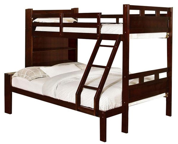 Furniture of America Fairfield Twin over Full Bunk Bed with Book Shelf FOA-CM-BK459EX-F-BED