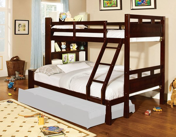 Furniture of America Fairfield Grano Twin over Full Trundle Bunk Bed FOA-CM-BK459EX-F-TR453-BED
