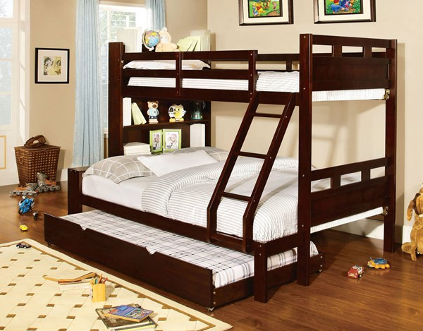 Furniture of America Fairfield Twin over Full Trundle Bunk Bed FOA-CM-BK459EX-F-TRBED