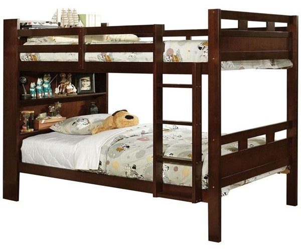 Furniture of America Fairfield Twin over Twin Bunk Bed with Book Shelf FOA-CM-BK459EX-BED