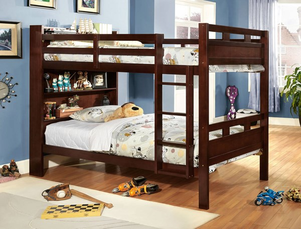 Furniture of America Fairfield Bunk Beds with Book Shelf FOA-CM-BK459-BBED-VAR