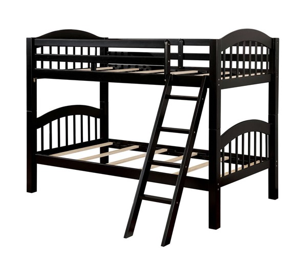 Furniture of America Coney Island Black Twin over Twin Bunk Bed FOA-CM-BK524-BK-BED