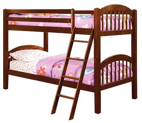 Furniture of America Coney Island Cherry Twin Over Twin Bunk Bed FOA-CM-BK524-CH-BED