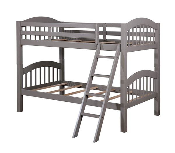 Furniture of America Coney Island Gray Twin over Twin Bunk Bed FOA-CM-BK524-GY-BED