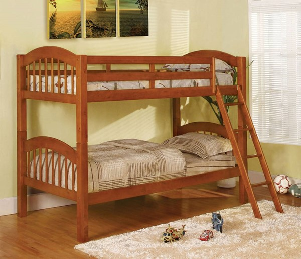 Furniture of America Coney Island Oak Twin Over Twin Bunk Bed FOA-CM-BK524-OAK-BED
