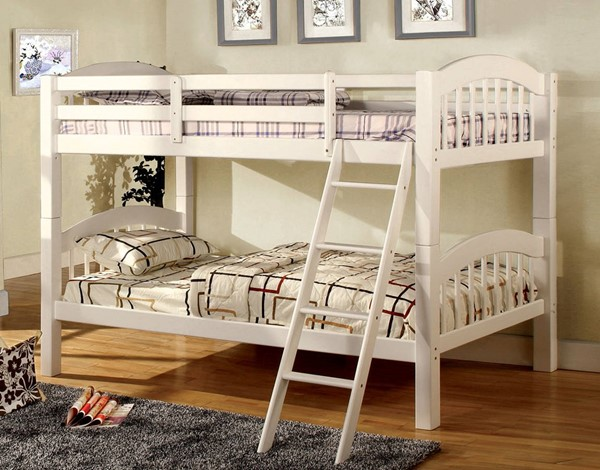 Furniture of America Coney Island White Twin Over Twin Bunk Bed FOA-CM-BK524-W-BED