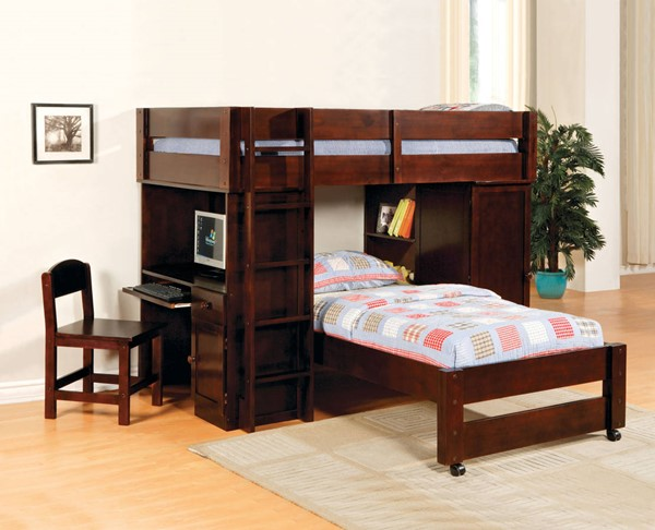 Furniture of America Harford Twin Over Twin Loft Beds FOA-CM-BK529-LBED-VAR