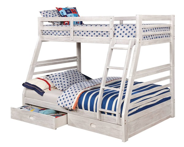 Furniture of America California III White Twin Over Full Drawer Bunk Bed FOA-CM-BK588WH-BED