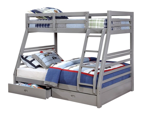 Furniture of America California III Gray Twin Over Full Drawer Bunk Bed FOA-CM-BK588GY-BED