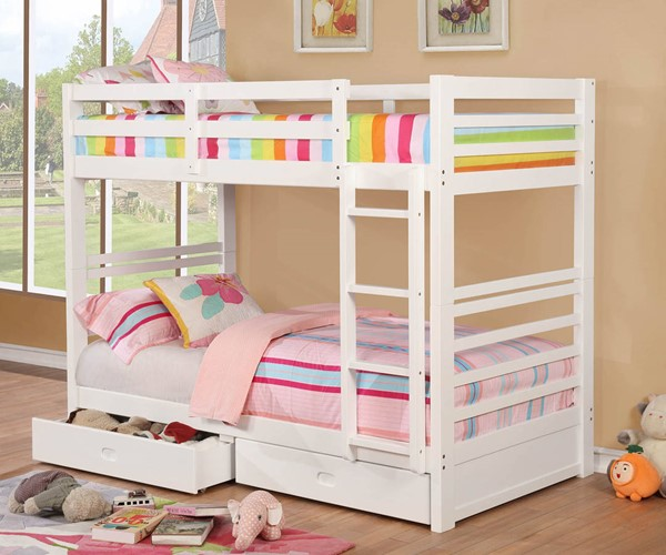 Furniture of America California IV White Twin over Twin Bunk Bed FOA-CM-BK588T-WH-BED