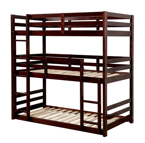 Furniture of America California V Dark Walnut Three Layer Twin Bunk Bed FOA-CM-BK589EX-BED