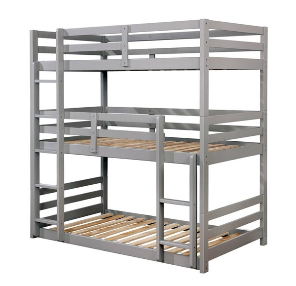 Furniture of America California V Gray Three Layer Twin Bunk Bed FOA-CM-BK589GY-BED