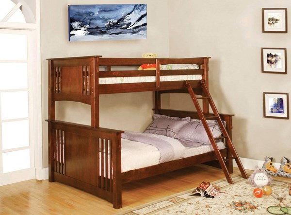 Furniture of America Spring Creek Oak Twin Over Full Bunk Bed FOA-CM-BK602F-OAK-BED