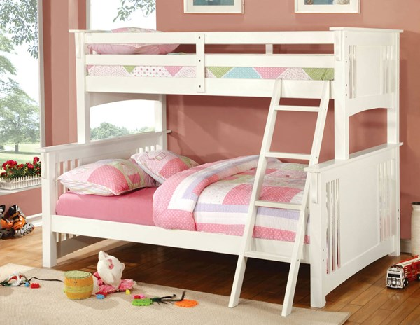 Furniture of America Spring Creek White Twin Over Full Bunk Bed FOA-CM-BK602F-WH-BED
