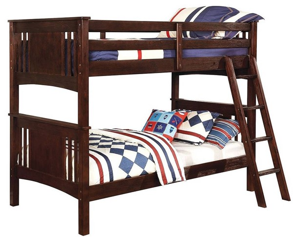 Furniture of America Spring Creek Brushed Dark Walnut Twin over Twin Bunk Bed FOA-CM-BK602T-BEX-BED