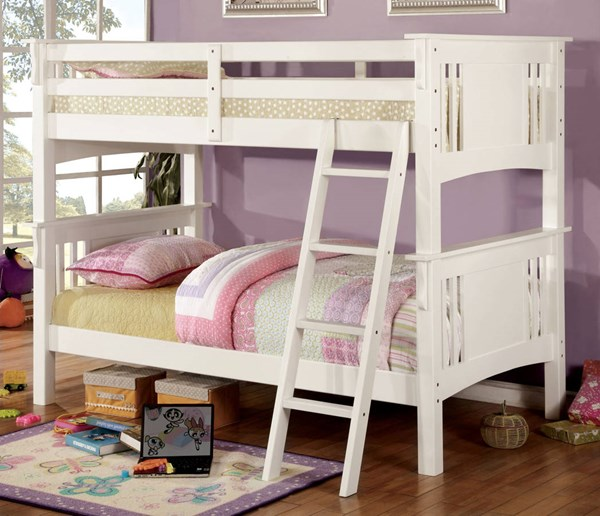 Furniture of America Spring Creek White Twin Over Twin Bunk Bed FOA-CM-BK602T-WH-BED