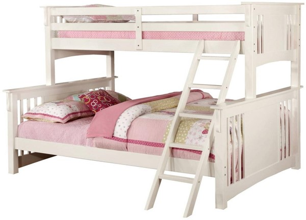 Furniture of America Spring Creek White Twin XL Over Queen Bunk Bed FOA-CM-BK604WH-BED