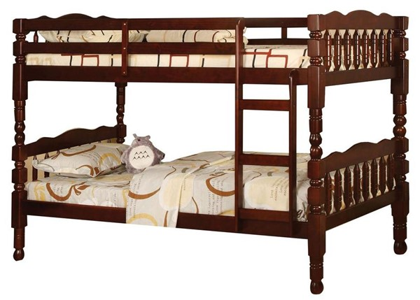 Furniture of America Catalina Cherry Twin Over Twin Bunk Bed FOA-CM-BK606CH-BED