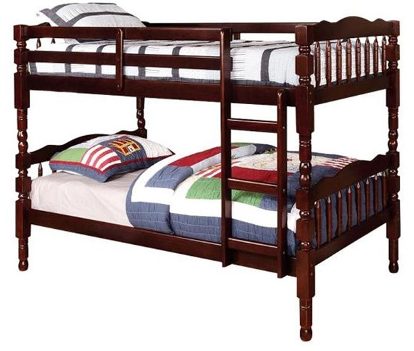 Furniture of America Catalina Dark Walnut Twin Over Twin Bunk Bed FOA-CM-BK606EX-BED