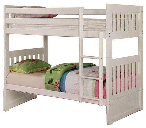 Furniture of America Canberra II White Twin over Twin Bunk Bed FOA-CM-BK607T-WH-BED