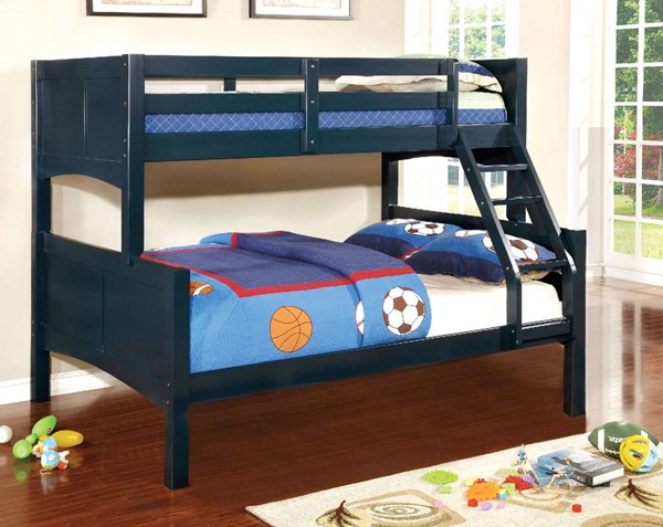 Furniture of America Prismo II Blue Twin over Full Bunk Bed FOA-CM-BK608F-BL-BED