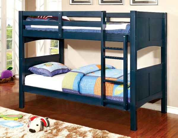 Furniture of America Prismo II Blue Twin over Twin Bunk Bed FOA-CM-BK608T-BL-BED