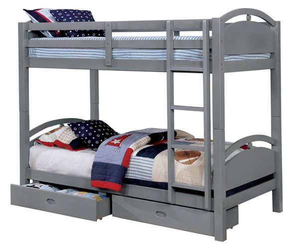 Furniture Of America Beja 2 Drawers Bunk Bed FOA-CM-BK610GY-T-BED