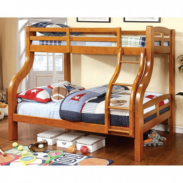 Furniture of America Solpine Oak Twin Over Full Bunk Bed FOA-CM-BK618-BED