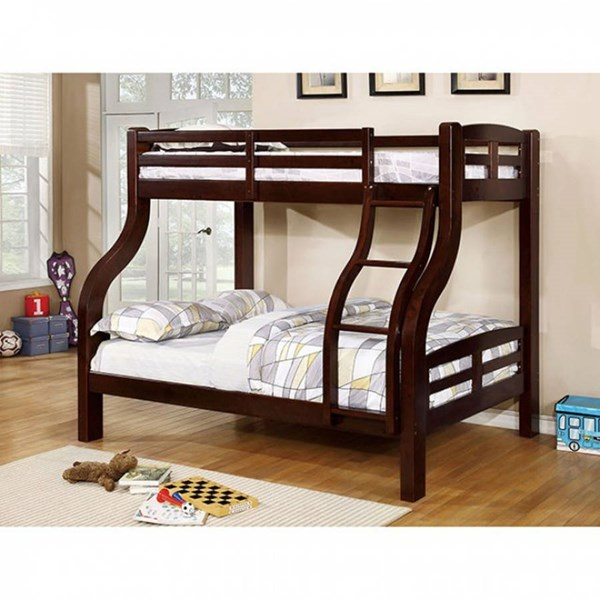Furniture of America Solpine Espresso Twin Over Full Bunk Bed FOA-CM-BK618EX-BED