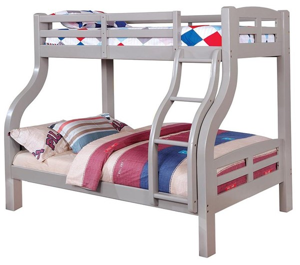 Furniture of America Solpine Gray Twin Over Full Bunk Bed FOA-CM-BK618GY-BED