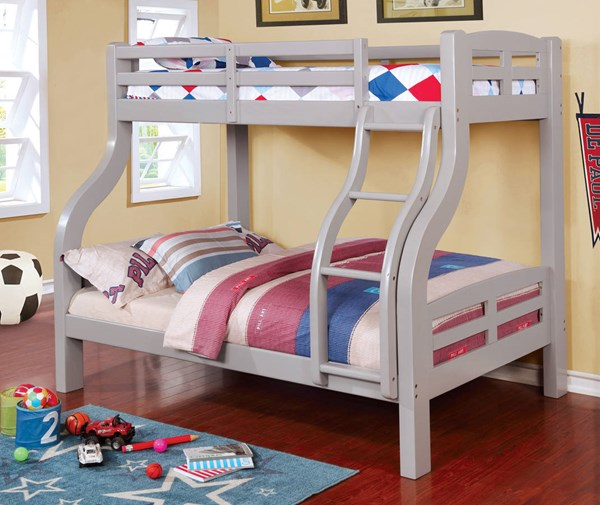 Furniture of America Solpine Gray Twin Over Full Trundle Bunk Bed FOA-CM-BK618GY-TRBED