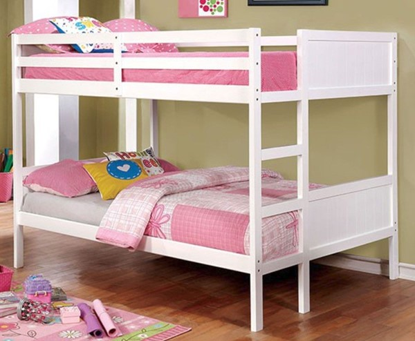 Furniture of America Annette White Full over Full Bunk Bed FOA-CM-BK619F-WH-BED