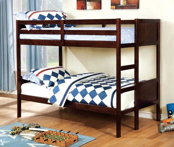 Furniture of America Annette Grano Twin over Twin Bunk Beds FOA-CM-BK619-TR453-BED-VAR