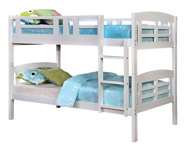Furniture of America Cassie White Twin over Twin Bunk Bed FOA-CM-BK627-BED