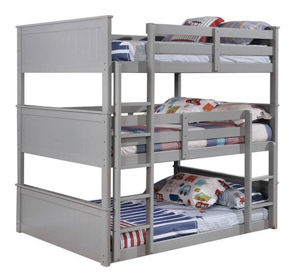 Furniture Of America Therese Gray Full Triple Decker Bed FOA-CM-BK628GY-F-BED
