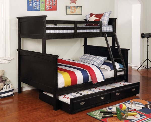 Furniture of America Marci Black Twin over Full Trundle Bunk Bed FOA-CM-BK630BK-TF-TR-BED