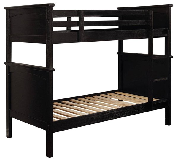 Furniture of America Marci Black Twin over Twin Bunk Bed FOA-CM-BK630BK-TT-BED