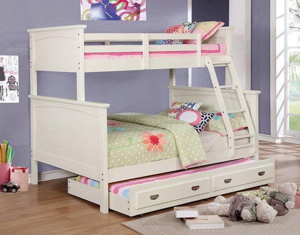 Furniture of America Marci White Twin over Full Trundle Bunk Bed FOA-CM-BK630WH-TF-TR-BED