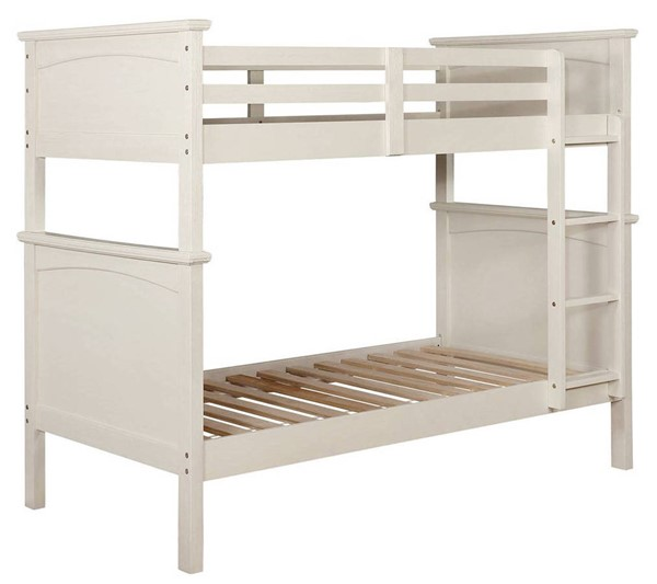 Furniture of America Marci White Twin over Twin Bunk Bed FOA-CM-BK630WH-TT-BED