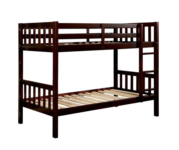 Furniture of America Emilie Dark Walnut Twin over Twin Bunk Bed FOA-CM-BK633EX-TT-BED