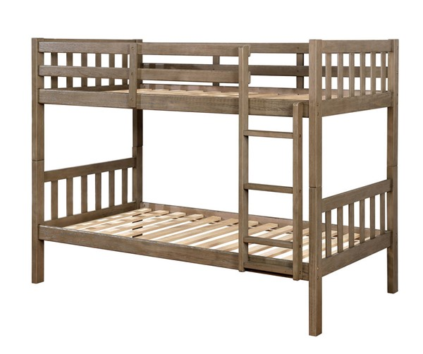 Furniture of America Emilie Warm Gray Twin over Twin Bunk Bed FOA-CM-BK633GY-TT-BED