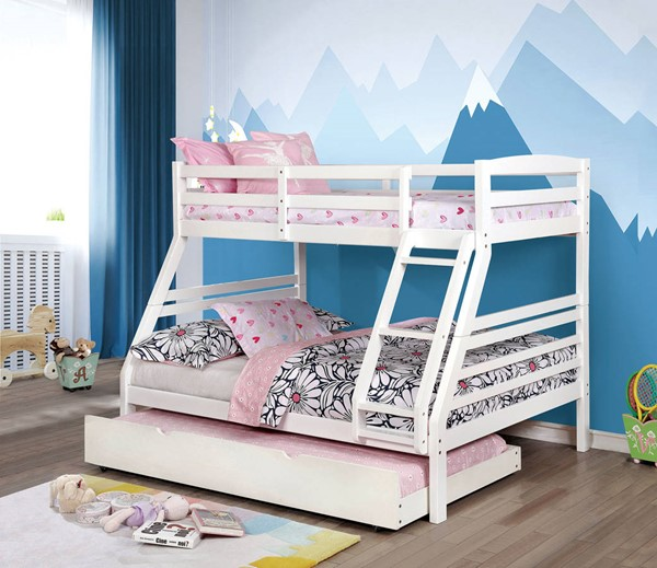 Furniture of America Elaine White Twin over Full Trundle Bunk Bed FOA-CM-BK634WH-TF-TR-BED
