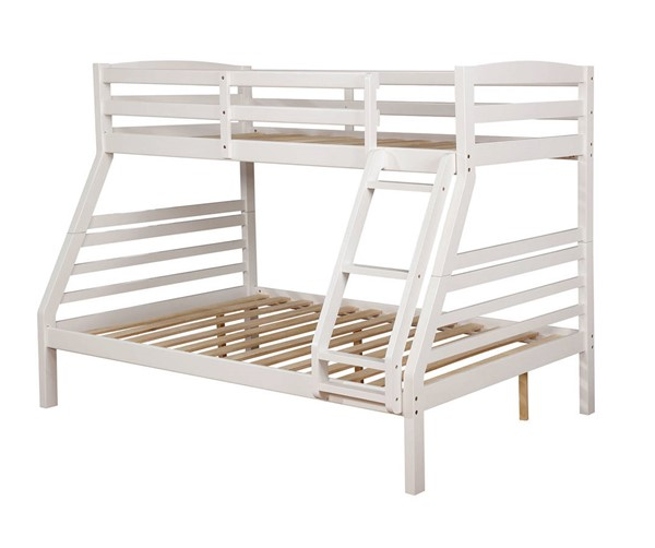 Furniture of America Elaine White Twin over Full Bunk Bed FOA-CM-BK634WH-TF-BED