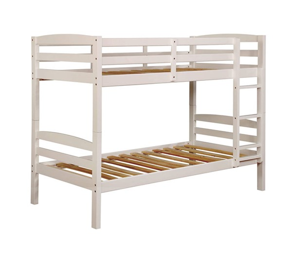 Furniture of America Elaine White Twin over Twin Bunk Bed FOA-CM-BK634WH-TT-BED
