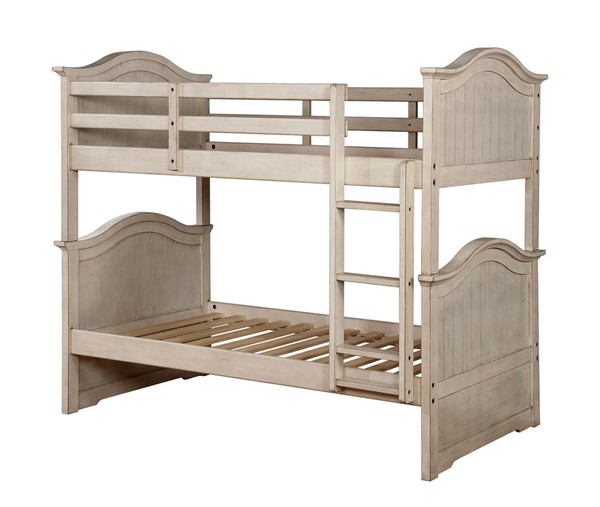 Furniture of America Hermine White Twin over Twin Bunk Bed FOA-CM-BK635WH-BED