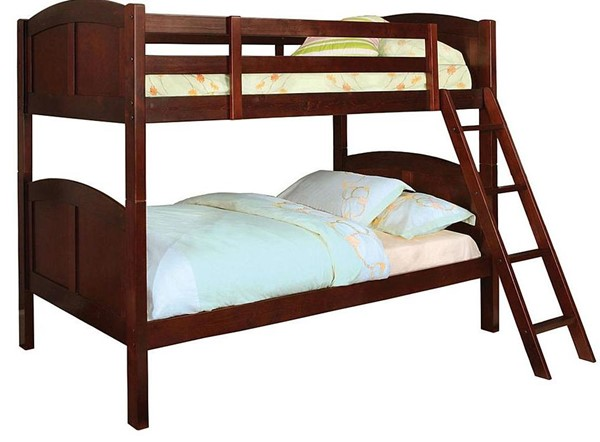 Furniture of America Rexford Cherry Twin Over Twin Bunk Bed FOA-CM-BK903CH-BED