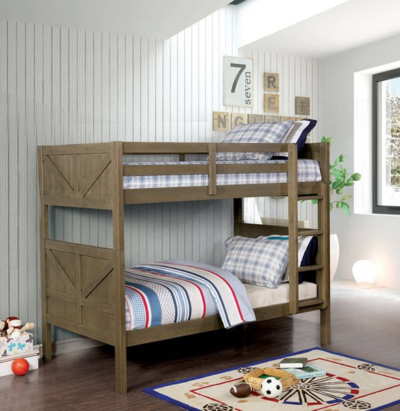 Furniture of America Kitchener Gray Twin over Twin Bunk Bed FOA-CM-BK914-BED