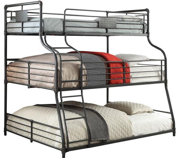 Furniture of America Olga III Sand Black Twin Full Queen Bunk Bed FOA-CM-BK918-BED