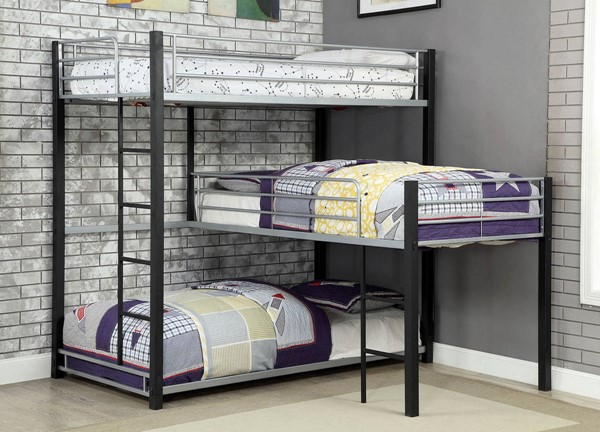 Furniture of America Aubrey Antique Black Twin Triple Decker Bed FOA-CM-BK919-BED