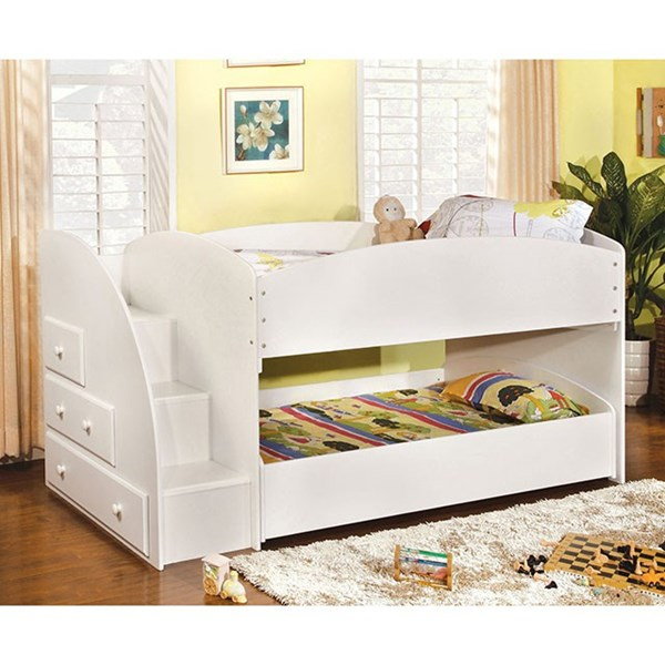 Furniture of America Merritt White Twin Over Twin Bunk Bed FOA-CM-BK921WH-T-BED